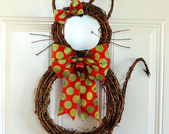 Grapevine Cat Christmas Wreath Whimsical Christmas Wreath Christmas Cat wreath Door Decoration Front Door Wreaths Door Hanger