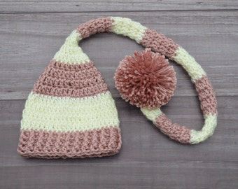 Crochet Elf Hat with Long Tail. Pink & Off-White Stripes. Newborn.