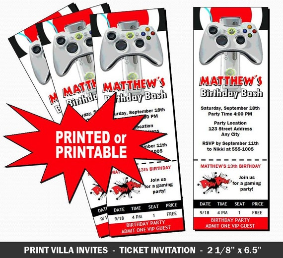 Xbox Party Invitations Free Printable XBox Video Game Ticket Invitation Birthday By