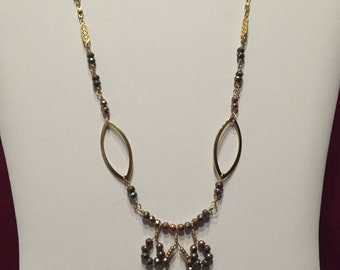 Multi-Color Faceted Pyrite Circle Necklace
