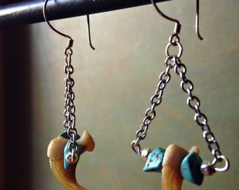 Bobcat Claw & Turquoise Nugget Specimen Earrings
