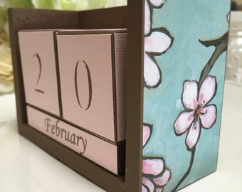 Desk Calendar   Cherry Blossom   Birthday Gift  Office Supply   Gift For  Her