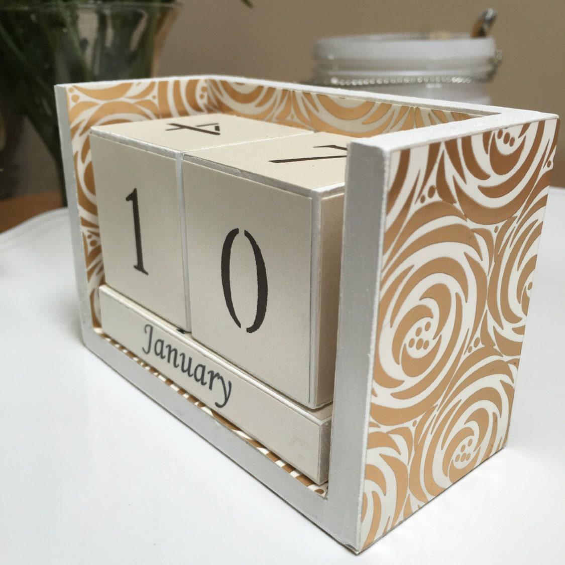 Calendar Wooden Blocks : Perpetual desk calendar wooden blocks hand painted white