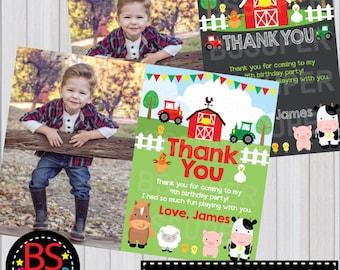 Farm Birthday Thank You Card, First Birthday Thank You Card