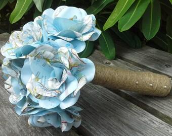Map Rose Paper Flower Bridal Bouquet, Paper Roses, Wedding Flowers