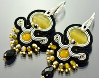 Colorful Soutache Earrings, Yellow Soutache Earrings, Dangle Earrings, Black Dangle Earrings, Gray Long Soutache Earrings, Soutache Earrings