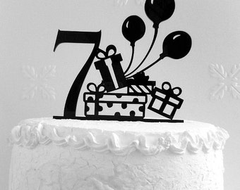 7th Birthday Cake Topper,  Seventh Birthday cake topper,  Happy 7th Birthday