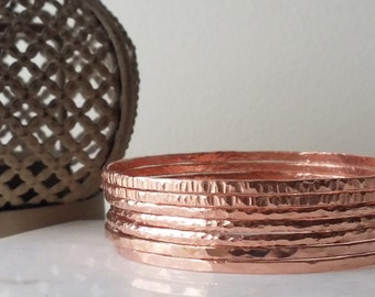 Copper Bangles Hammered Stackable set of 7 Bohemian style