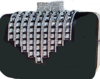 New Black Leather & Crystal Hard Clutch Handbag