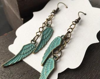 Feather Festival Earrings Bohemian Earrings or Bohemian Jewelry - Feather Earrings - Angel Wing Earrings