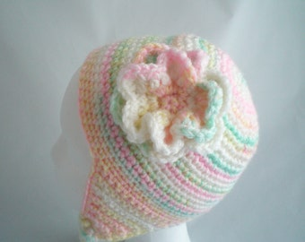 Crochet Novelty Ear Flap Hat / Hand Crocheted Novely Ear Flap Hat /  Children's Cotton Candy Striped Novelty  Ear FlapHat with Flower.
