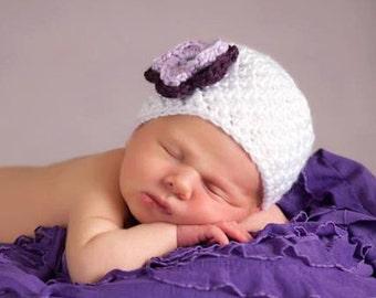 Baby Newborn Hat, Toddler Girl Hat, Crochet Baby Hat, Newborn Photo Prop, Baby Shower Gift, Baby Girl Hat, Newborn Baby Hat, White Purple