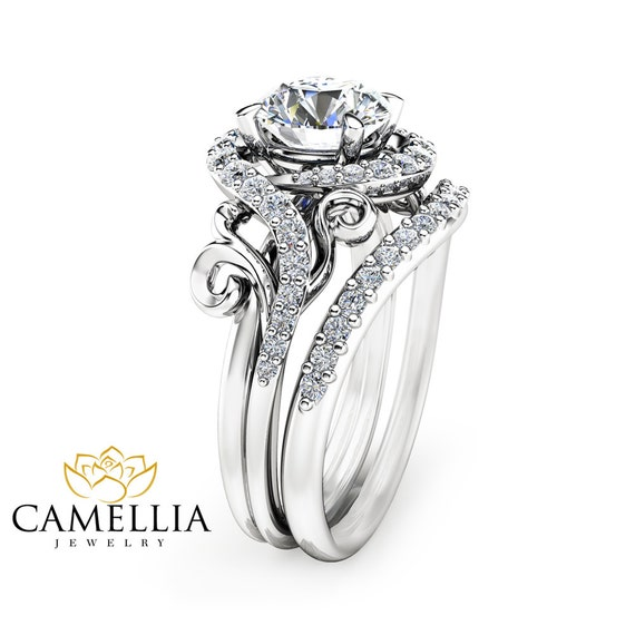 moissanite unique engagement ring set 14k white gold