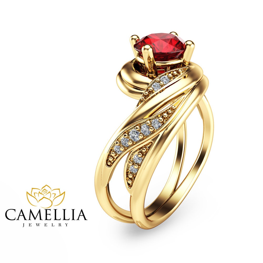 14k yellow gold ruby engagement ring cut ruby