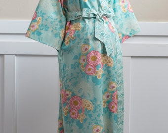 Maternity Robe. Mid calf Gown. Long Maternity. XS - Plus size. Pre and Post Delivery Hospital Gown.  Cotton Floral BS Yellow Gold Teal Pink