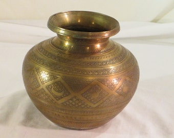 Vintage Brass Hand Hammered Moroccan Vase or Planter from Morocco