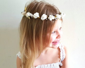 White Flower Crown/ Flower Girl Headband/ Newborn Photo Prop/ Grecian Headband/ Gold & White Crown/ Adult Headband/ Flower Headband/ Bridal