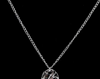 Pure (.999) silver oval swirl necklace