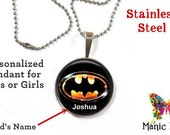 Child Batman pendant - Personalized Kid's Batman necklace Stainless Steel Pendant