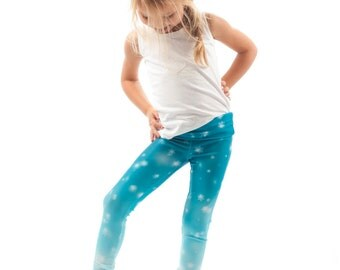 Frozen Kids Leggings, Bright Snowflake Printed Ombre Snow Girls Tights