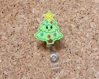 Christmas Badge Reel, KAWAII Tree Christmas Felt Badge Reel, , Christmas Gift, Smiling Tree, 678