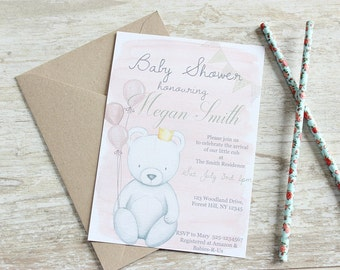 Baby Shower Invitations, Pink Baby Shower Invites, Bear Baby Shower Invitation, Girl Baby Shower Invitation,  Baby Shower Invitation Girl