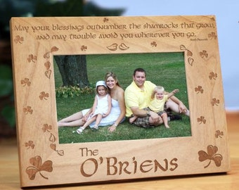 Shamrock Blessings Personalized Wood Picture Frame, Shamrock Blessings Wood Photo Frame, Engraved Irish Wood Photo Frame