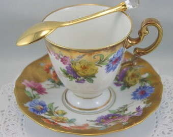 Hand Painted, Floral Teacup & Saucer, B=Nicely Gilded, Bone German China made in Bavaria Germany in 1940s.