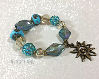 Boho Jewelry Beaded Bracelet, Sun Charm Bracelet