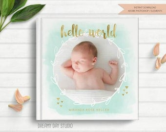 baby photo book cover template, newborn photo album cover, photo album cover template, newborn photo album, photography template, photoshop