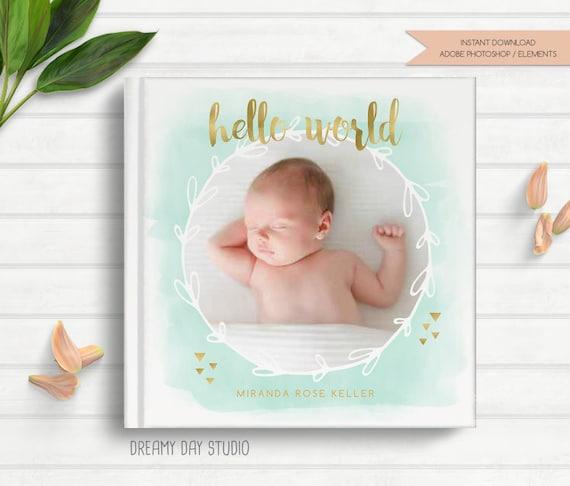 Baby Photobook Cover Ideas : Baby photo book cover template newborn album