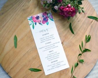 Menu Card, Menu, Wedding Menu Card, Floral Menu Card, Watercolor Wedding Menu Card