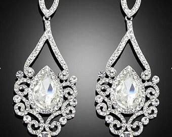 Vintage Wedding Crystal Glass Earrings