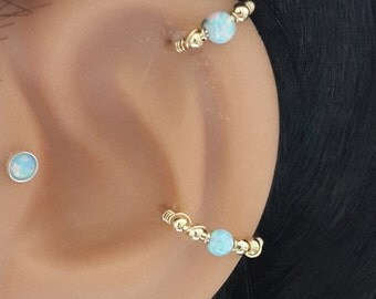Light- Blue Opal conch piercing, gold conch earring, silver conch ring,conch hoop,conch piercing jewelry,16-22 gauge, 12-16mm inner diameter