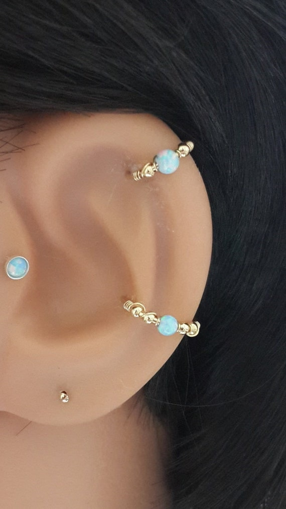 light blue opal conch piercing gold conch earring silver. Black Bedroom Furniture Sets. Home Design Ideas