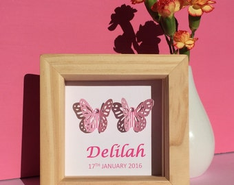 Small personalised butterflies artwork - new baby gift - butterfly nursery art - Christening gift - chose any colour