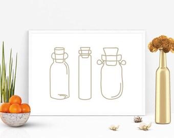 Neutral Bottle Minimalist Print, Minimalist poster, Bottle Neutral print, Neutral decor wall art 8x10 print, A4, A3