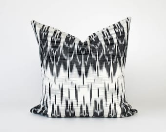 Black and White Ikat Handwoven Textile Maya Guatemalan Mayan Boho Chic Bohemian Global Tribal Style