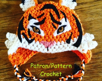 crochet PATTERN Tiger Hat, earflap hat crochet pattern, animal hat real tiger crochet pattern only