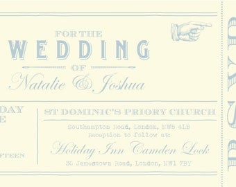 50 Powder Blue Vintage Shabby Chic Ticket Wedding Invitations!
