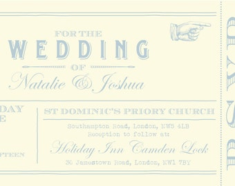 SAMPLE Powder Blue Vintage Shabby Chic Ticket Wedding Invitations!