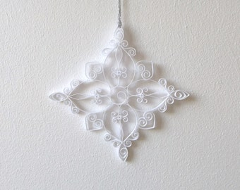 White Paper Snowflake, 4.7in Paper Quilled Snowflake, Christmas Snowflake, Christmas Ornament, Quilled Christmas Decoration, Paper Quilling