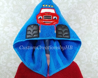 Ready to Ship, Blaze Monster Truck Inspired Hooded Towel on High Qualitly Belk Department Store Towels