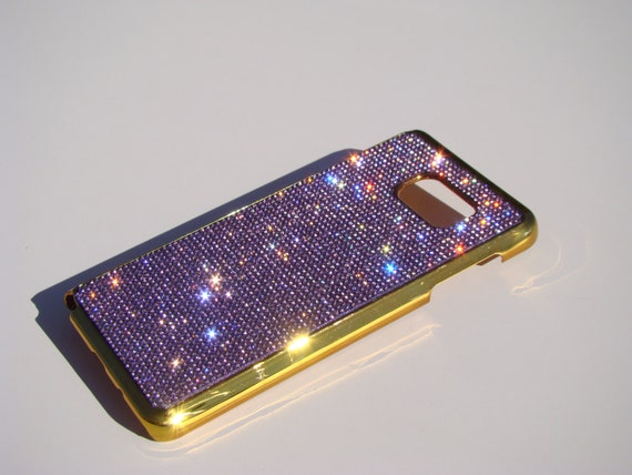 Galaxy Note 5 Purple Amethyst Crystals  Gold-Bronze Electro Plated Plastic Case. Velvet/Silk Pouch Included, Genuine Rangsee Crystal Cases.
