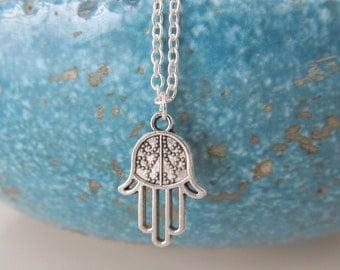 Hamsa necklace, hamsa jewelry, yoga necklace