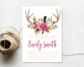 Antler Baby Shower Invitation Girl, Boho, Feather, Woodland Invite (586)
