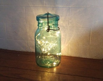 Indoor/Outdoor Vintage Blue Aqua Battery Operated Quart Mason Jar Fairy String Firefly Lights; Centerpiece, Beach, Wedding, Rustic Decor