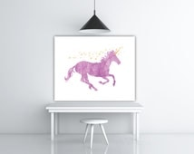 Pink Unicorn Art, Pink Yellow Nursery, Glitter Unicorn Print, Unicorn Nursery, Unicorn Wall Decor, Unicorn Wall Art, INSTANT DOWNLOAD
