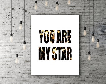1st Anniversary Gift For Boyfriend, Printable Quote Art, Love Wall Decor, Husband Birthday Gift Men, Star Print, Black White Gold