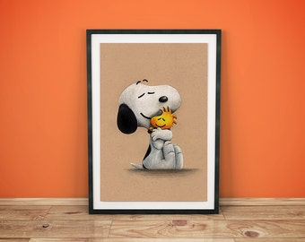 Snoopy and Woodstock - Peanuts Movie - Fine Art Print - A4